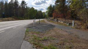 Fundament för fartkamera längs riksväg 47 mellan Bockara och Oskarshamn